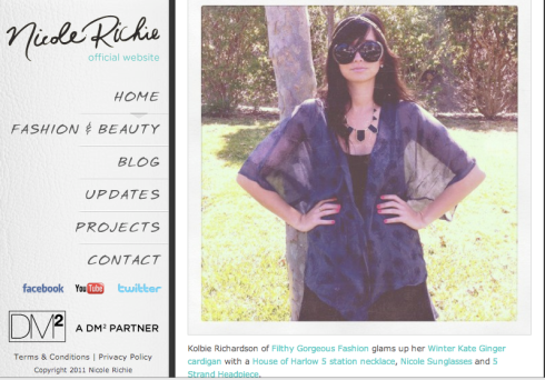 Filthy Gorgeous Fashion Make is on Nicole Richie's Website